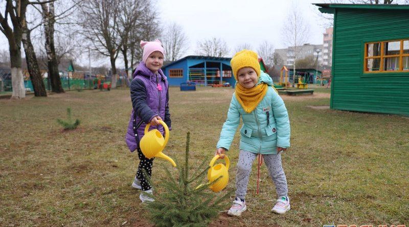 Маленькие кореличчане и их родители посадили деревья возле Дошкольного центра развития ребенка